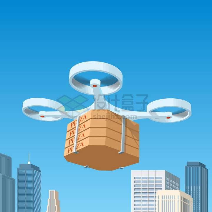 飞行在城市上空的无人机送餐png图片免抠矢量素材