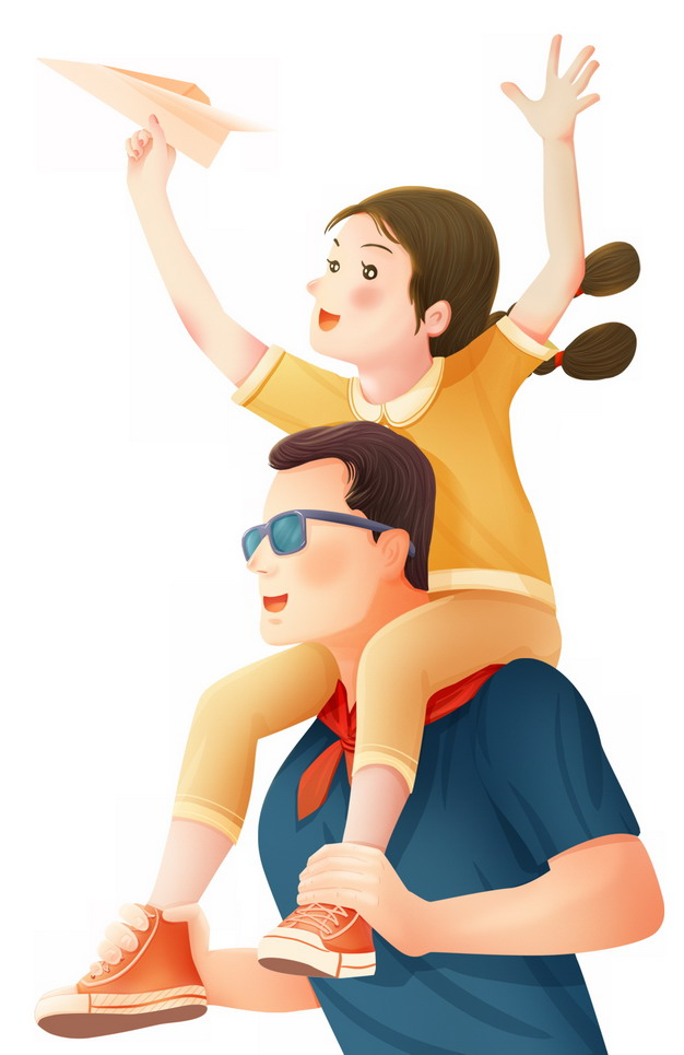 女儿骑脖子在爸爸身上手上拿着纸飞机父亲节插画217655png图片素材