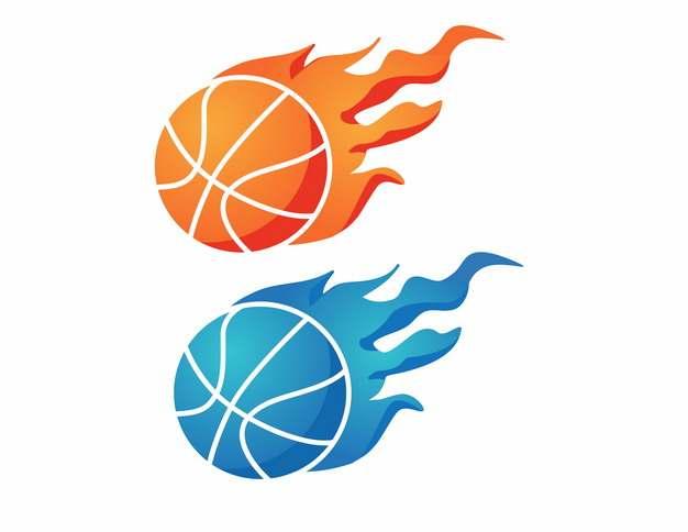 橙色和蓝色篮球与火焰937797AI矢量图片素材
