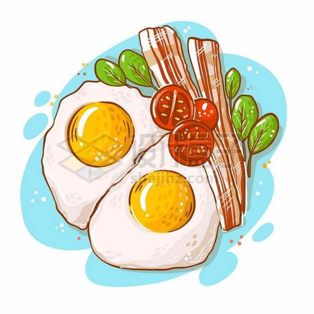 煎蛋培根卡通美味早餐719780png图片素材