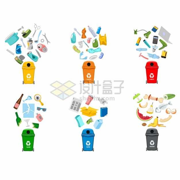垃圾桶垃圾分类处理手抄报插图475096png图片素材