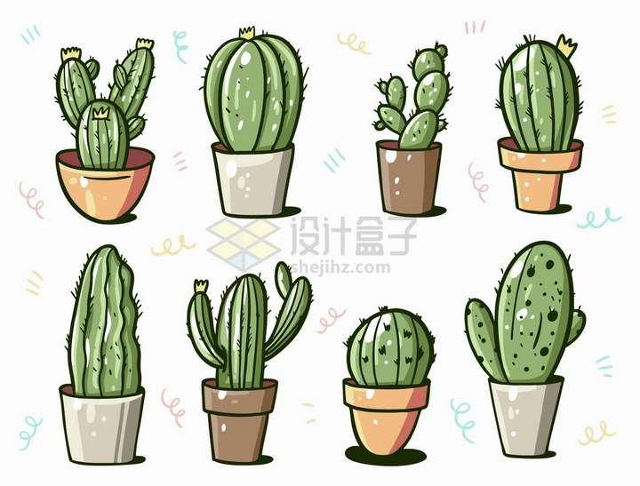 8款手绘卡通仙人掌花盆仙人球png图片免抠矢量素材