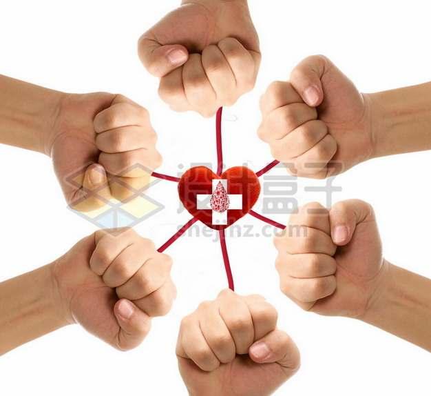 6个握紧的拳头和无偿献血png图片素材