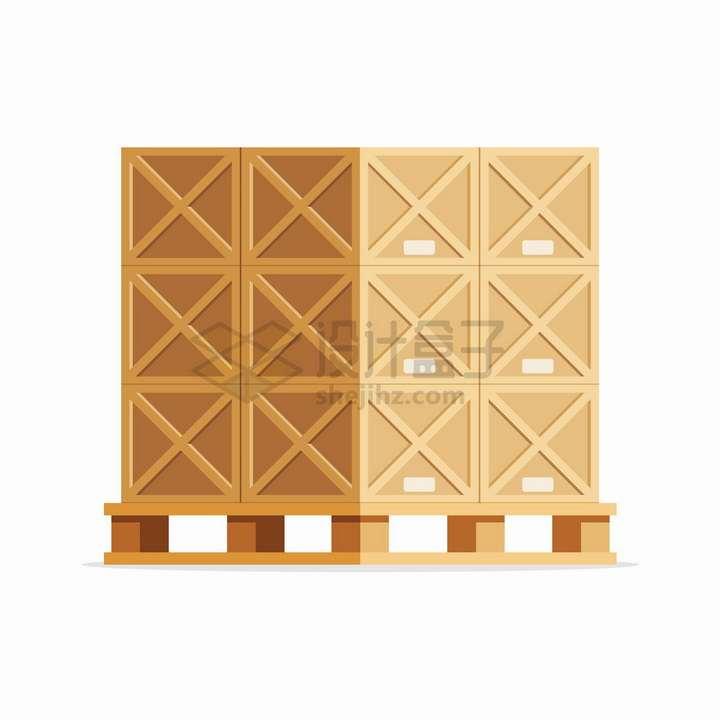 托盘上的木箱货物png图片免抠eps矢量素材