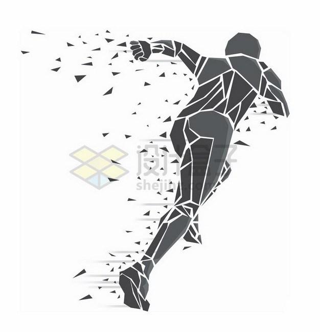 灰色碎片组成奔跑的人抽象插画363285png免抠图片素材 人物素材-第1张