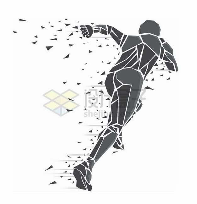 灰色碎片组成奔跑的人抽象插画363285png免抠图片素材