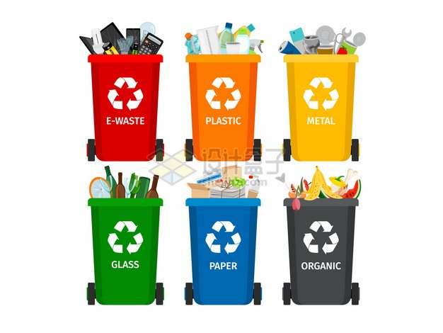 电子垃圾塑料电池玻璃废纸和生活垃圾桶垃圾分类插画265308png图片素材