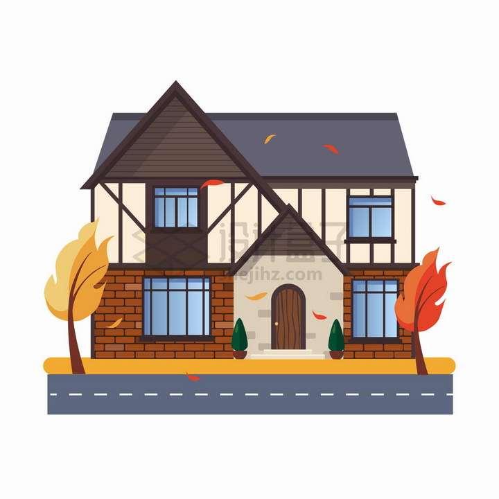 门前有两棵大树的二层小别墅扁平化房子png图片免抠矢量素材
