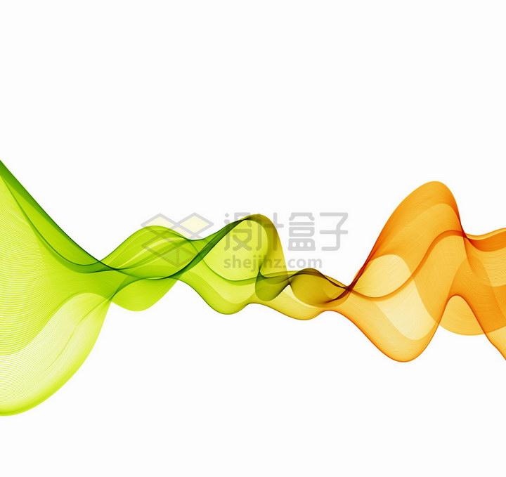 唯美风格绿色橙色波浪线组成的装饰图案png图片免抠矢量素材 装饰素材-第1张