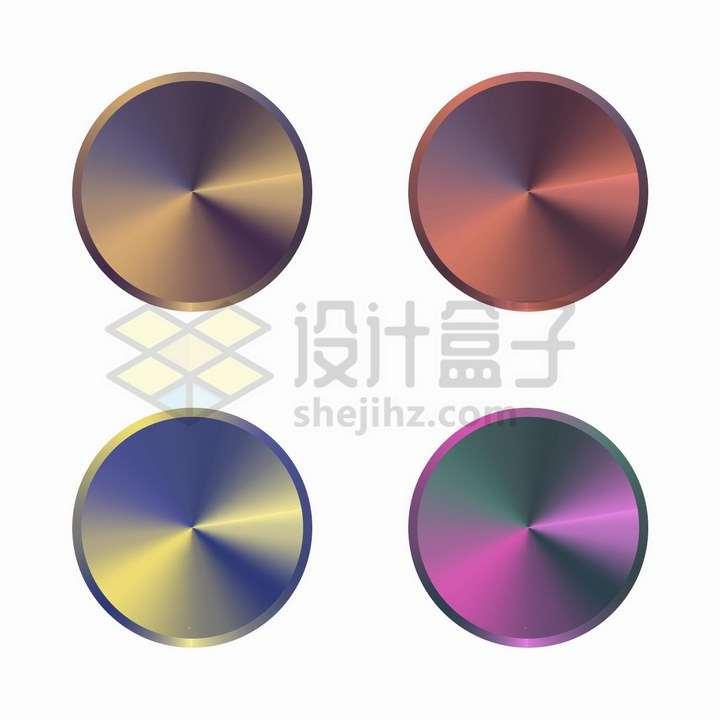 4款彩虹色金属光泽效果按钮png图片免抠矢量素材