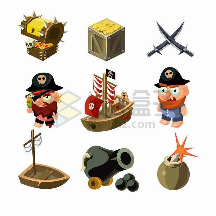 9款卡通风格海盗船宝箱金币大炮等png图片免抠矢量素材