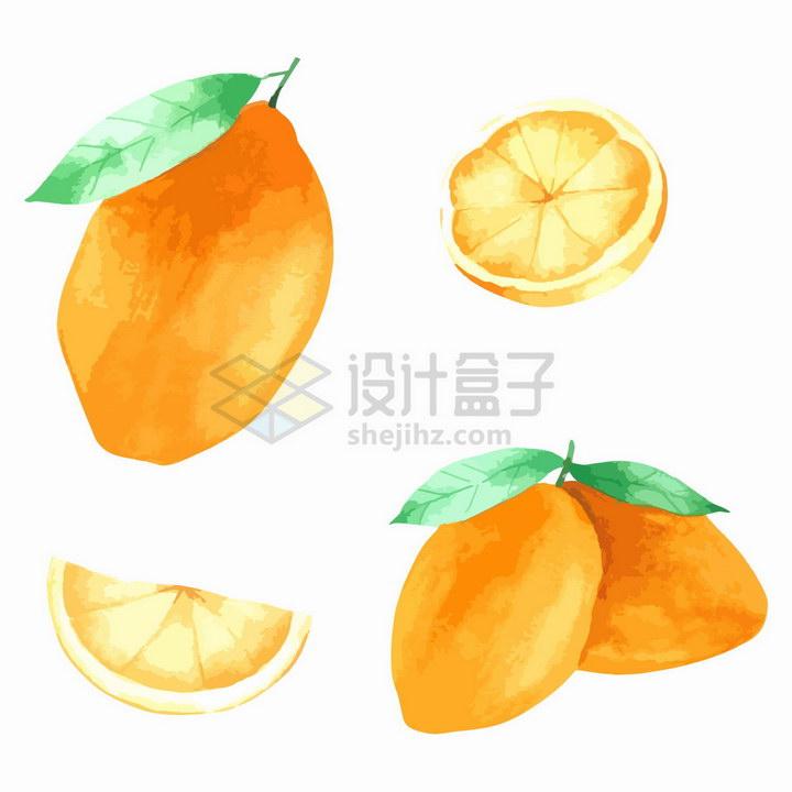 切开的柠檬彩绘风格美味水果png图片免抠矢量素材