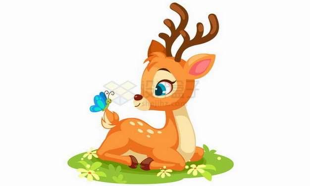 坐在草地上和蝴蝶嬉戏的卡通梅花鹿小鹿png图片免抠矢量素材