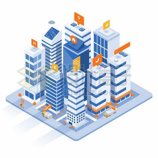 2.5D风格智慧城市建筑760425 png图片素材