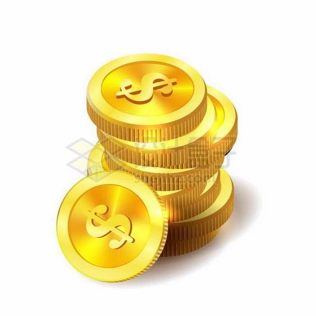 叠加在一起的美元符号金币png图片免抠矢量素材