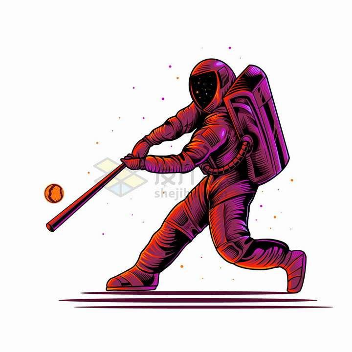 紫红色宇航员打棒球抽象漫画插画png图片免抠矢量素材