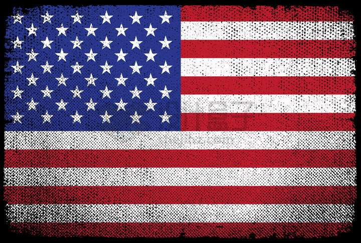 斑驳旧布纹理的美国国旗星条旗png图片免抠矢量素材
