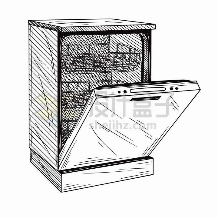 手绘素描风格打开的洗碗机消毒柜家用电器png图片免抠矢量素材