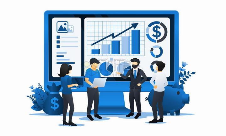 大家正在电脑上讨论投资曲线数据的金融商务人士扁平插画png图片免抠矢量素材 金融理财-第1张