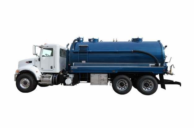 蓝色槽罐车油罐车危险品运输卡车侧视图584279png图片素材