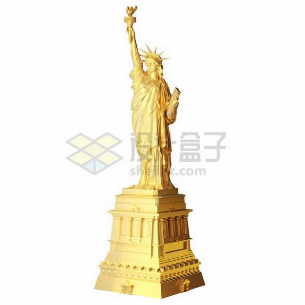 金色自由女神像png免抠图片素材 建筑装修-第1张