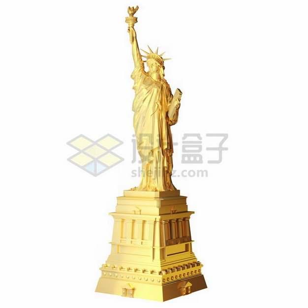 金色自由女神像png免抠图片素材