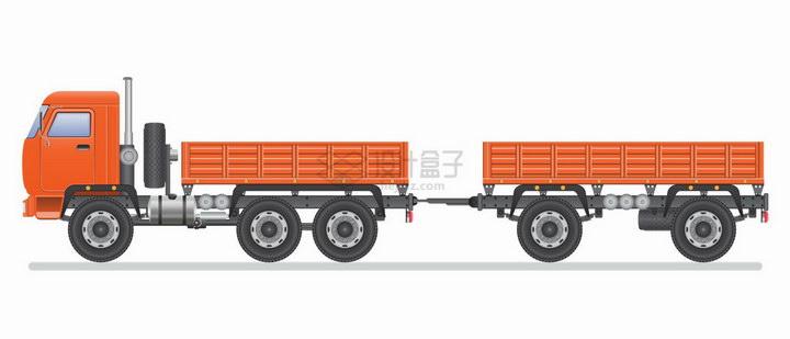 橙色的卡车拖着一个车厢png图片免抠矢量素材