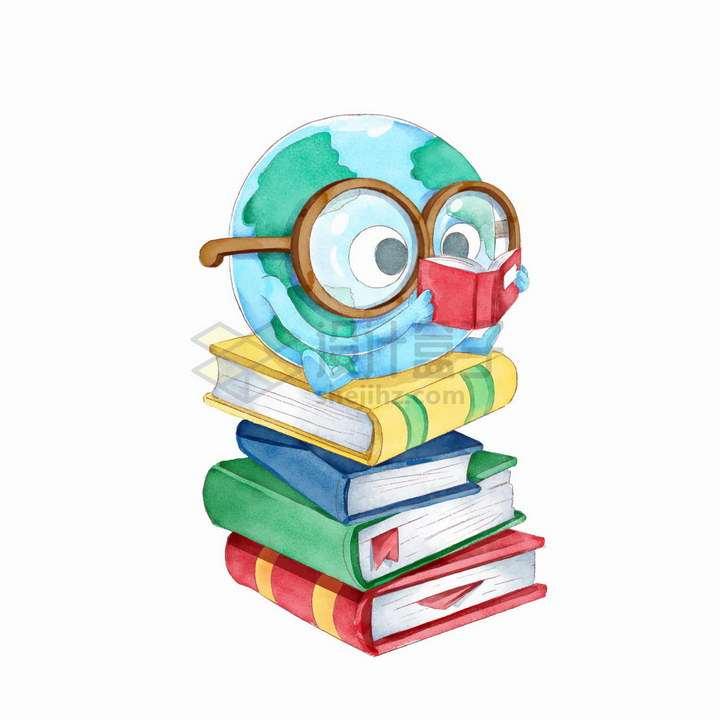 彩绘世界读书日坐在书本上看书的卡通地球png图片免抠矢量素材