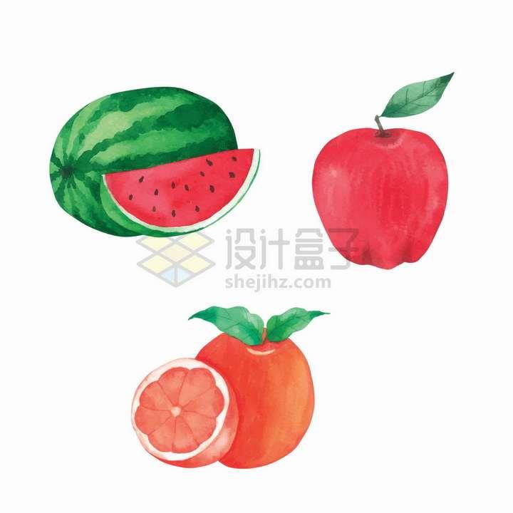 西瓜红苹果橙子彩绘风格美味水果png图片免抠矢量素材