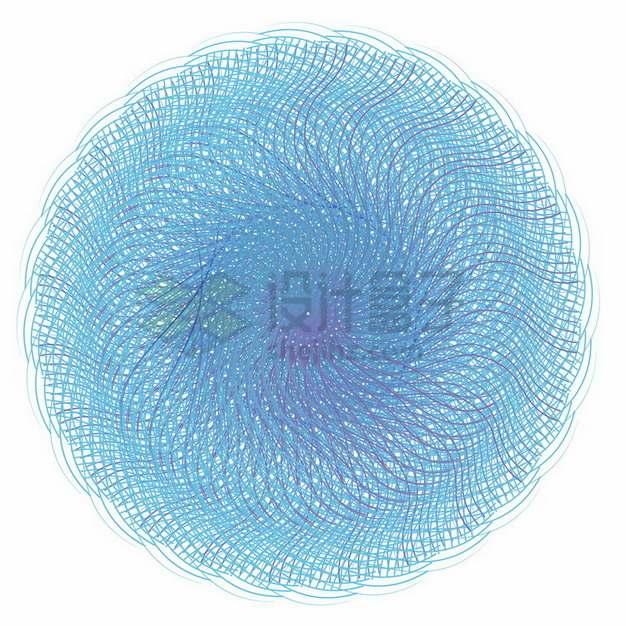蓝色线条螺旋抽象图案466328png免抠图片素材