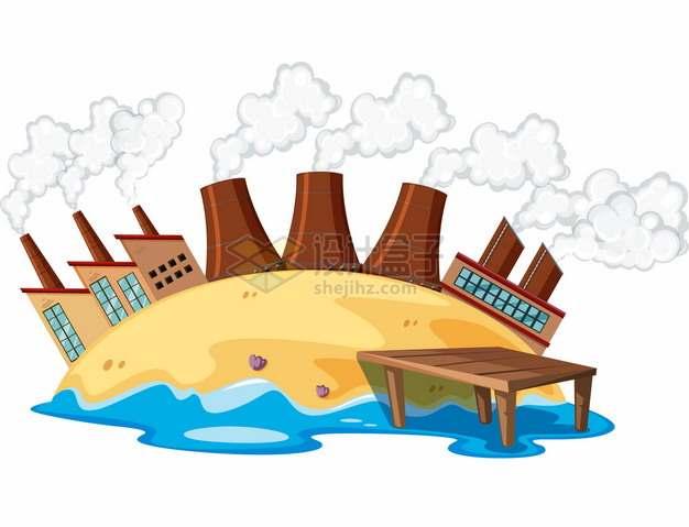 卡通地球上的冒烟的工厂烟囱环境污染148576png图片素材