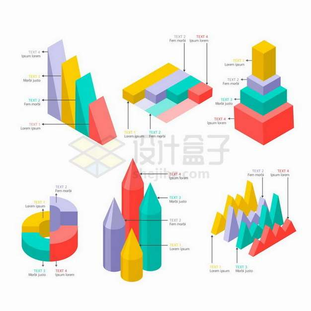 2.5D风格立体柱形图饼形图等PPT数据图表png图片免抠矢量素材