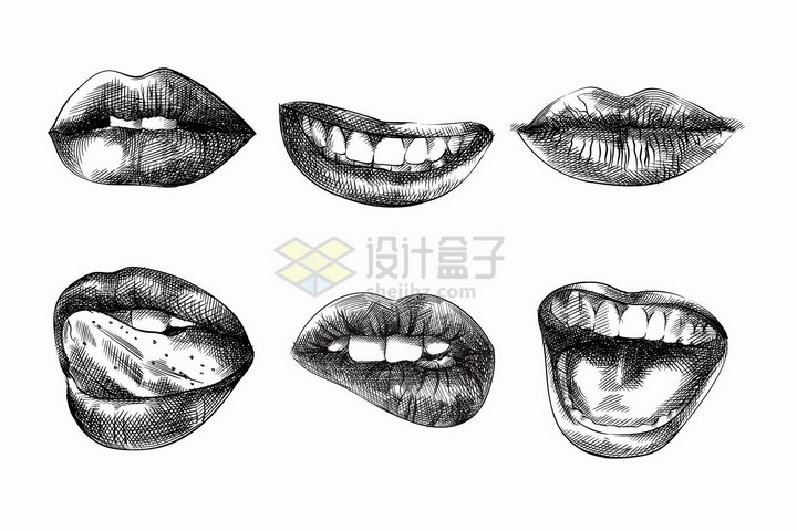 6款嘴唇铅笔素描画png图片免抠矢量素材 人物素材-第1张