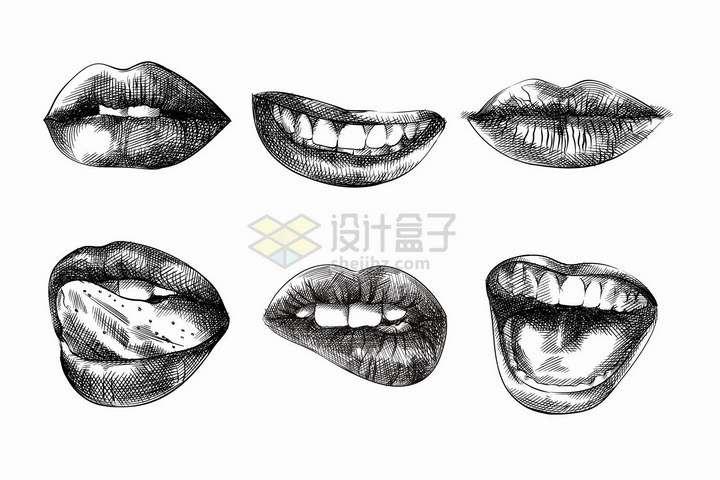 6款嘴唇铅笔素描画png图片免抠矢量素材