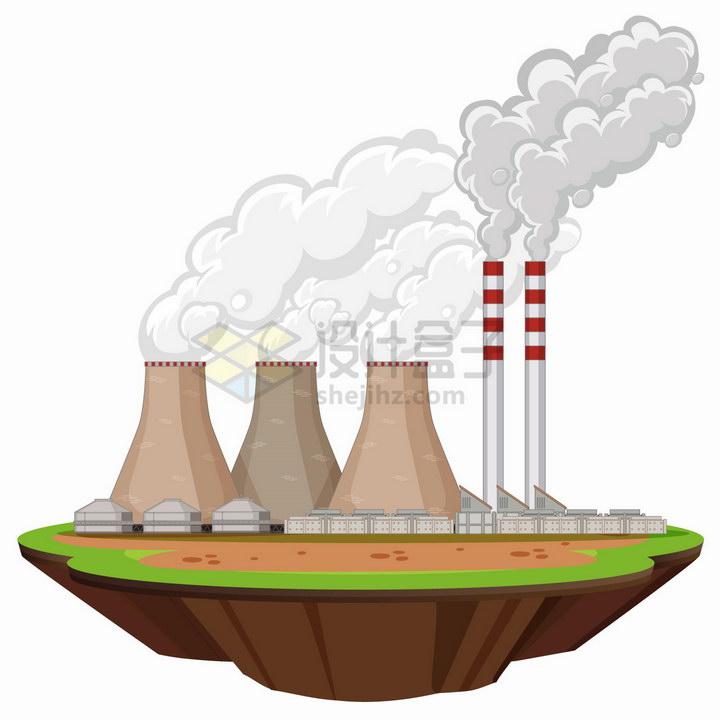悬空岛上冒烟的发电厂png图片免抠eps矢量素材 工业农业-第1张