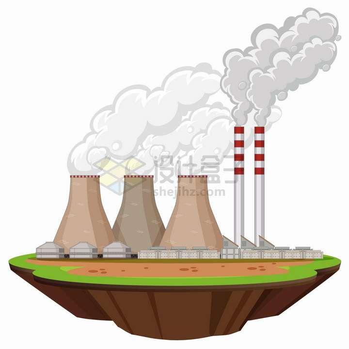 悬空岛上冒烟的发电厂png图片免抠eps矢量素材