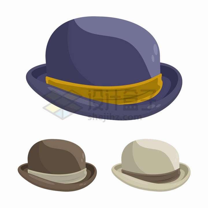 三种颜色的复古帽子绅士帽礼帽png图片免抠矢量素材