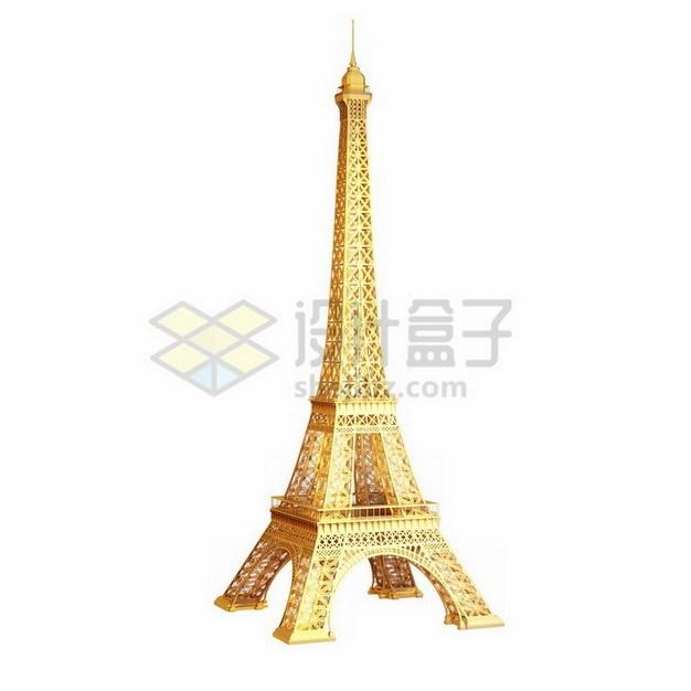 金色巴黎埃菲尔铁塔png免抠图片素材 建筑装修-第1张