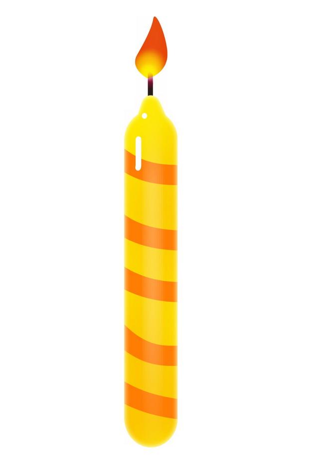 卡通黄色红色条纹的生日蜡烛7201565png图片素材