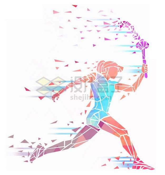 彩色碎片组成拿着火炬奔跑的女人抽象体育插画png免抠图片素材
