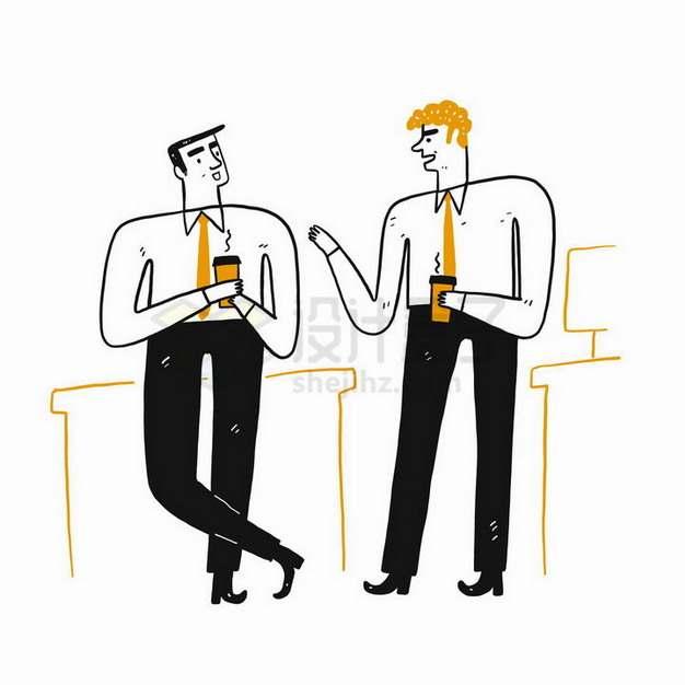 插画风格端着咖啡杯正在交谈的商务人士png图片免抠矢量素材