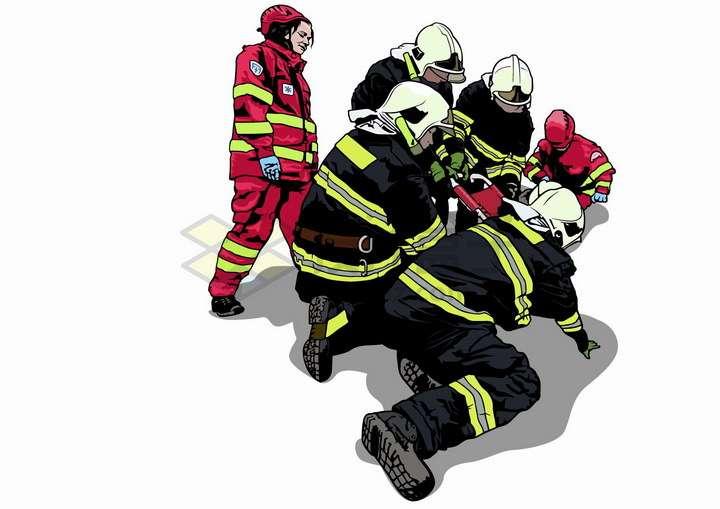 消防人员和救援人员正在抢救急救手绘插画png图片免抠矢量素材