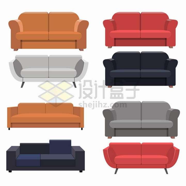 8款扁平化风格布艺沙发客厅家具png图片免抠矢量素材