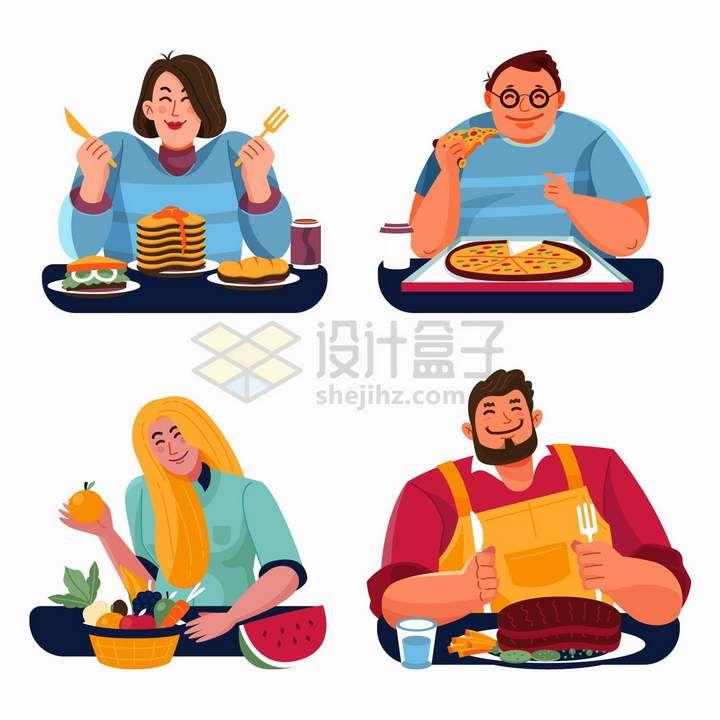 4款大胃王比赛的卡通美食家png图片免抠矢量素材