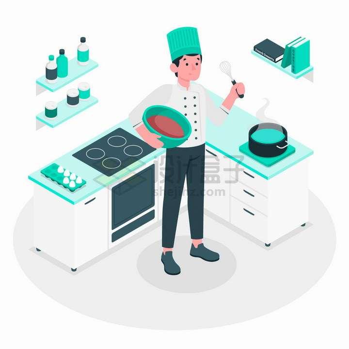 2.5D风格正在做饭的西餐厨师png图片免抠矢量素材