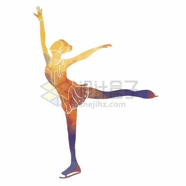 溜冰滑冰的运动员彩色涂鸦689274png免抠图片素材
