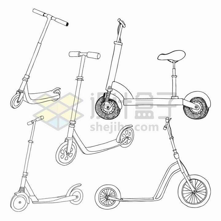 手绘素描风格5款儿童滑板车滑步车png图片免抠矢量素材