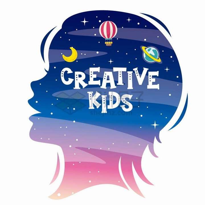 儿童脑袋剪影脑海中的热气球星球想象力配图png图片免抠矢量素材