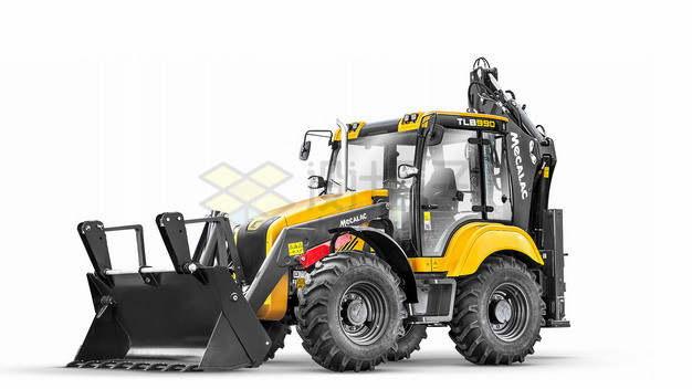 一辆黄黑相间的铲车png图片素材