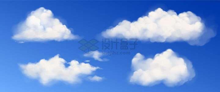 4朵洁白的云彩png图片免抠矢量素材